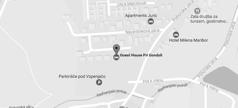 Zemljevid Prenočišča pri Gondoli